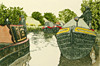 Original Etching Artwork - Narrow Boats